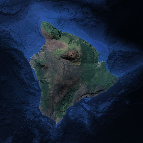 Our Hawaii map with added bathymetry hillshade.
