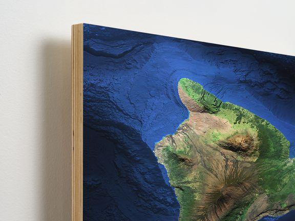 Map of Big Island of Hawaii on wood.