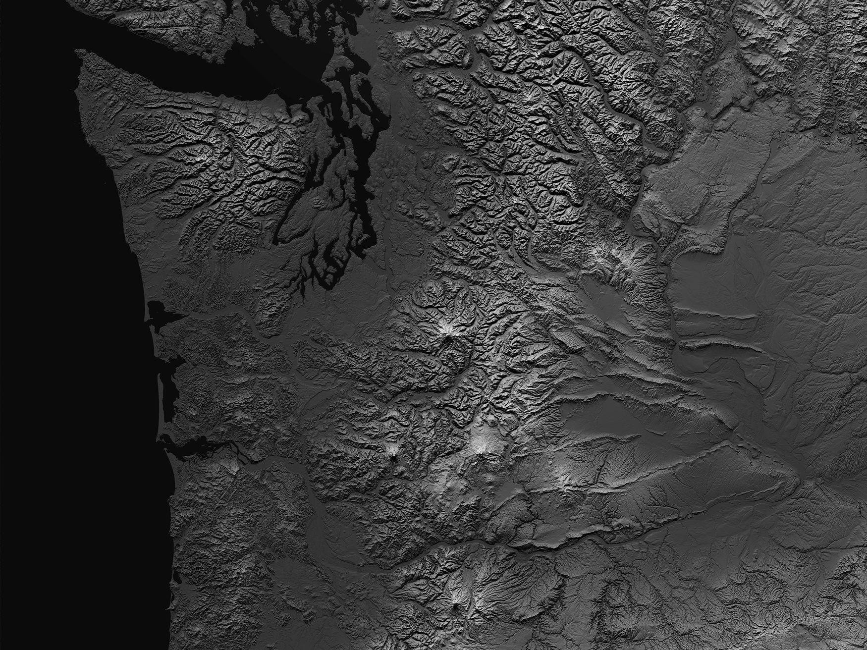 Cascade Mountain Range Terrain Map
