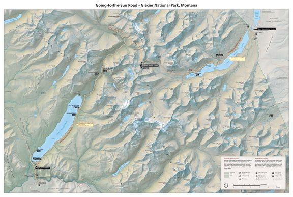 Map with shaded releif of Going to the Sun Road by Tom Patterson of the National Park Service.