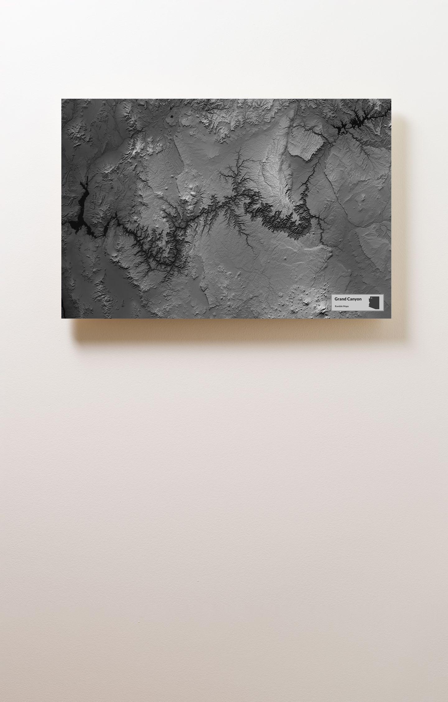 Grand Canyon Wood Mounted Terrain Map