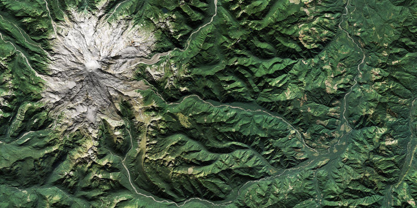 Map of Mount Rainier (Natural Color)