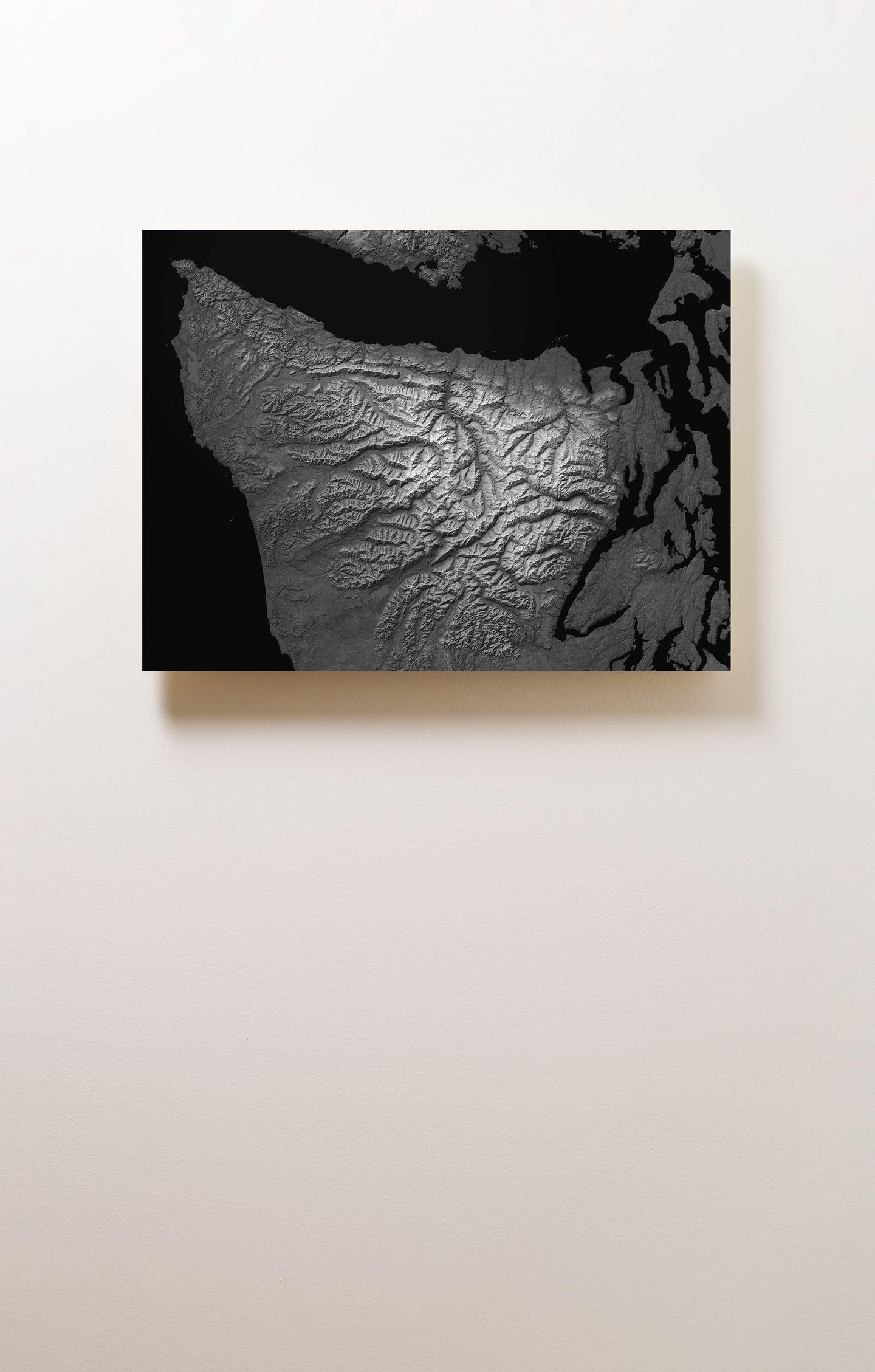 Olympic Peninsula Wood Mounted Terrain Map